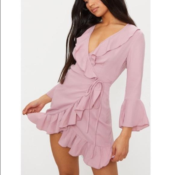 pretty little thing pink ruffle wrap dress size 2
